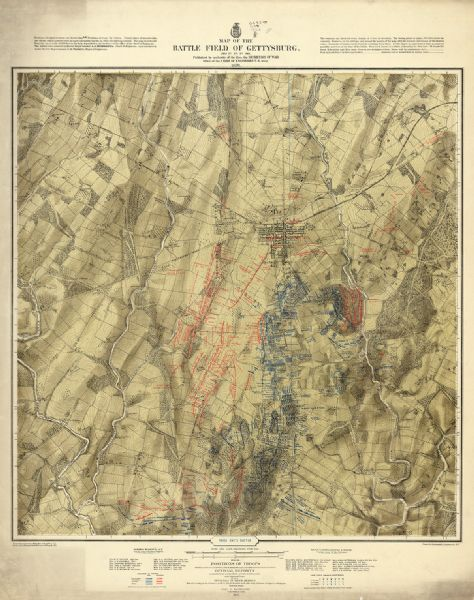 Gettysburg Topographic Map.Map Of The Battlefield Of Gettysburg July 3rd 1863 Map Or Atlas