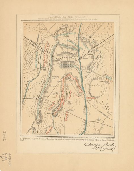 Gettysburg Topographic Map.Gettysburg And Vicinity Constructed And Engraved To Illustrate
