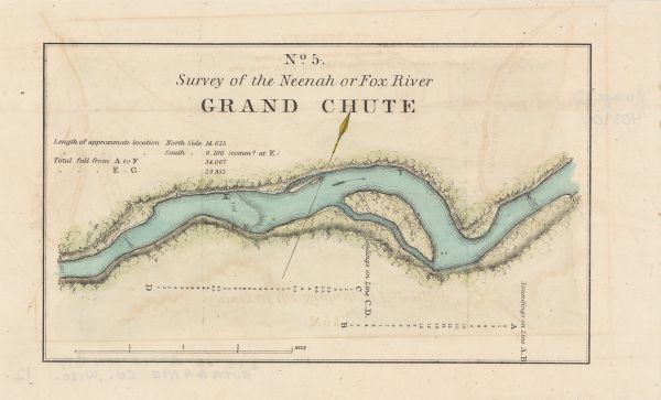This map surveyed under the direction of Captain Thomas J. Cram is one in a series of seventeen that accompanied Cram's report on the Fox-Wisconsin river survey. Relief is shown by hachures and depths are shown by contours and soundings. The upper left corner includes a note about the river. Scale is given as 4 inches to 1 mile.