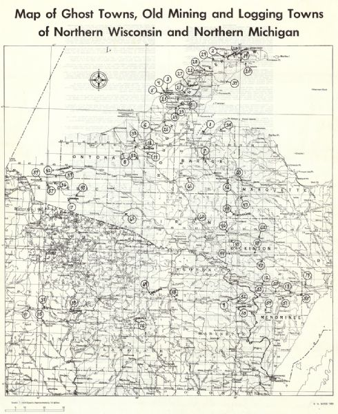 Map Of Ghost Towns Old Mining And Logging Towns Of Northern - Map of wisconsin and michigan