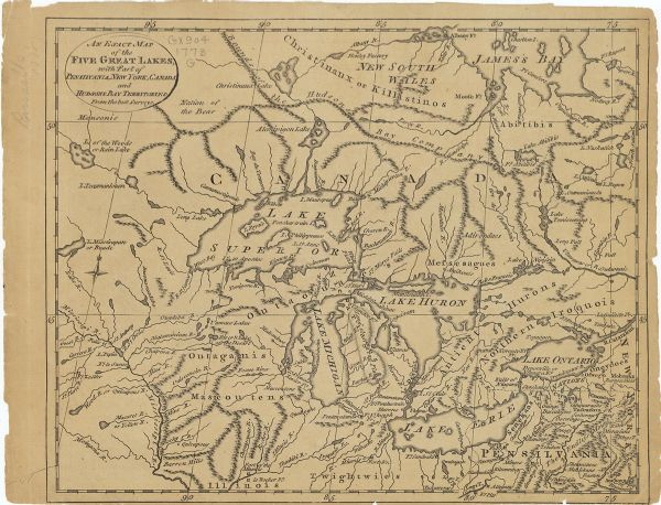 An Exact Map of the Five Great Lakes with Part of Pensilvania, New ...