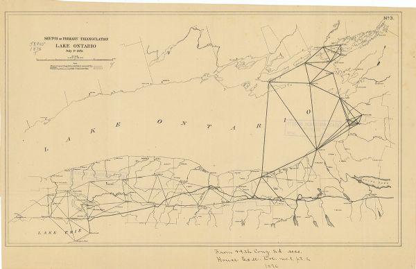 Sketch of Primary Triangulation, Lake Ontario | Map or Atlas ...