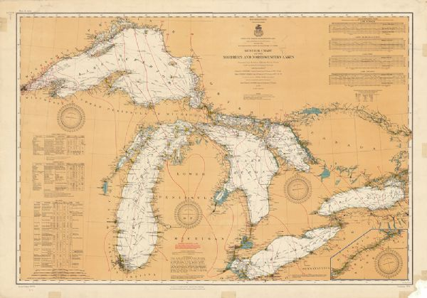 General Chart of the Northern and Northwestern Lakes Map or Atlas