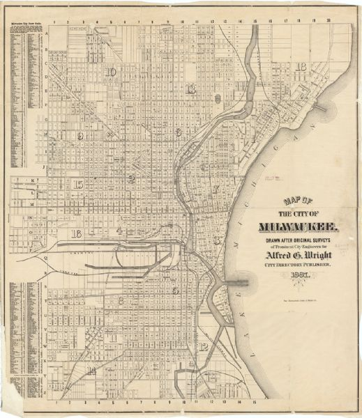 "This map shows block numbers, roads, railroads, wards, and selected buildings. The map includes a ""Milwaukee city street guide"" and index to public buildings and parks."