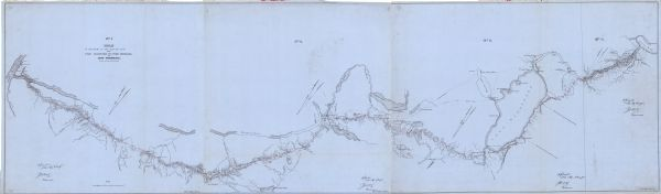 This map is red and black ink on tracing cloth and is oriented with north to the upper left. This hand-drawn map shows a central portion of the military road, in the region of Portage and Fort Winnebago as well as nearby trails, towns, and Indian settlements.