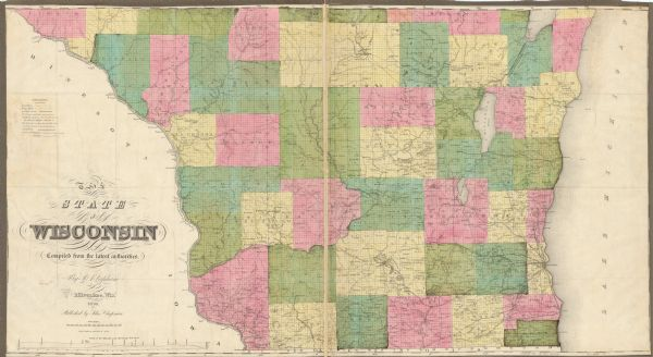"This map show the surveyed southern part of state and includes ""profile of the Milwaukee and Mississippi Rail Road."" Counties are shown in pink, green, blue, and yellow. Lake Michigan, the Mississippi, and other lakes and rivers are labeled. Portions of Iowa and Minnesota are shown."