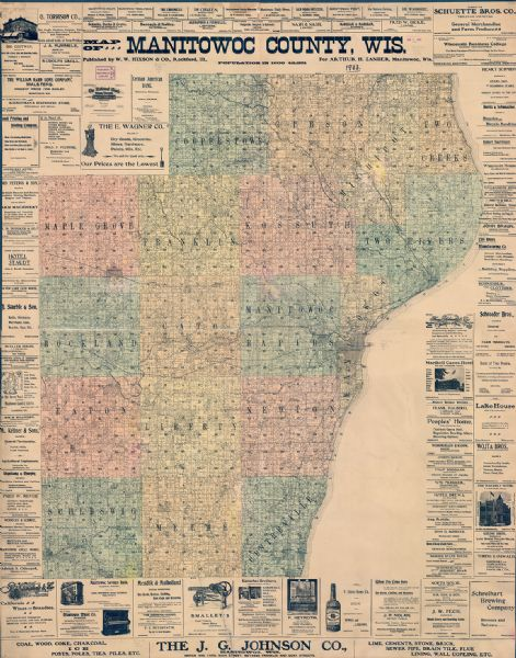 Map Of Manitowoc County Map Or Atlas Wisconsin Historical Society - Michigan land ownership maps