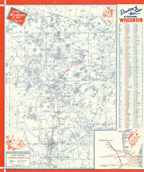 Northern Wisconsin Lake Region The Milwaukee Road Map Or Atlas