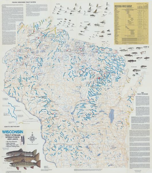 Wisconsin trout streams spring ponds and lakes map or for Trout fishing wisconsin