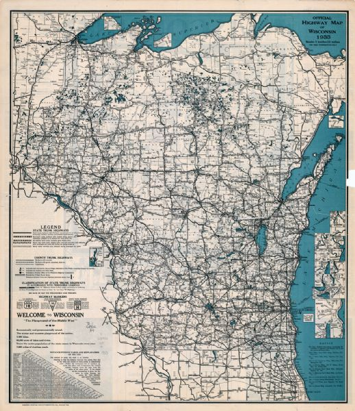 "This map shows the state trunk highway system and county trunk highways. This map show surface type on state and county trunk highways and the locations of state parks and free public camp grounds. Also included is a distance finding table and explanation of its use. The map includes a distance table and insets of Superior, Ashland, Marinette, Green Bay, Appleton, Manitowoc, Oshkosh, Fond Du Lac, Janesville, Sheboygan, Stevens Point, Wausau, Waukesha, Madison, Eau Claire, Milwaukee, La Crosse, Beloit, Racine, and Kenosha. The back of the map includes text pertaining to Wisconsin scenery and state parks, and an ancillary map of ""Pictorial history of Wisconsin"" by Laura R. Kremers."