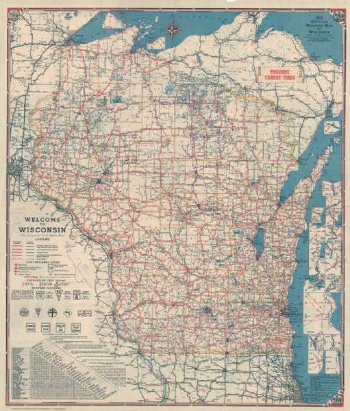 This map shows the state trunk highway system and county trunk highways. This map show surface type on state and county trunk highways and the locations of state parks and free public camp grounds. National forests, state forests, and Indian reservations are shown in color. Also included is a distance finding table and explanation of its use. The map includes mileage chart and insets of Superior, Ashland, Marinette, Green Bay, Appleton, Manitowoc, Oshkosh, Fond Du Lac, Janesville, Sheboygan, Stevens Point, Wausau, Waukesha, Madison, Eau Claire, Milwaukee, La Crosse, Beloit, Racine, and Kenosha.