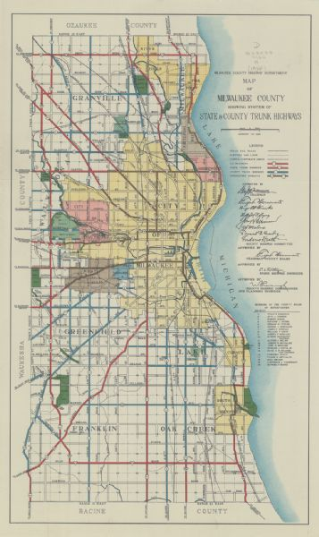 Milwaukee State Map.Map Of Milwaukee County Showing System Of State County Trunk