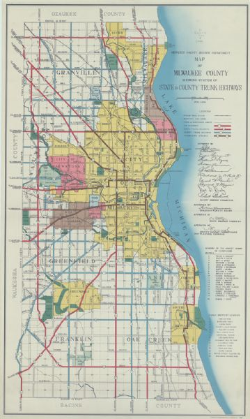 "Color coded map in pink, yellow, green, and brown of Milwaukee County State and County trunk highways. The map includes a legend of symbols: ""STEAM RAIL ROAD, ELECTRIC CAR LINES, TOWN & CORPORATE LIMITS, U.S. HIGHWAYS, STATE TRUNK HIGHWAYS, COUNTY TRUNK HIGHWAYS, CONNECTING STREETS"". The map includes lists of parks and members of the county board of supervisors and signatures of approval. The highways are in red, blue, black, and brown."