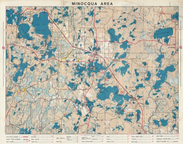 Minocqua Lakes Area Of Northern Wisconsin In Vilas And Oneida
