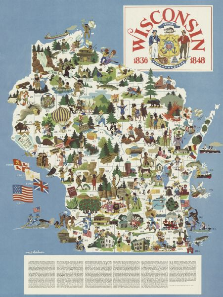 Wisconsin Illustrated Map Map Or Atlas Wisconsin Historical - Map of us in 1805