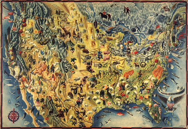 View Map Of United States.The Covarrubias America A Decorative Map Of The United States Of