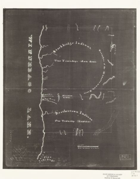 "This negative photostat map shows the ""oak tree, place of beginning"" on the division line between Stockbridge and Brothertown Indians, and Governor Porter's encampment. Winnebago Lake is visible in the left margin."