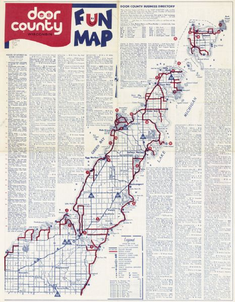 This map shows roads, parks, swimming beaches, golf courses, yacht harbors, light houses, airports, public hunting grounds, waysides, schools, and fishing spots. The map includes a Door County business directory and indexed list of points of interest.