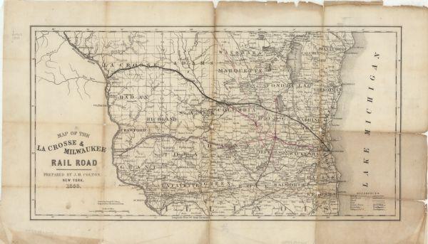 Map of the La Crosse Milwaukee Rail Road Map or Atlas