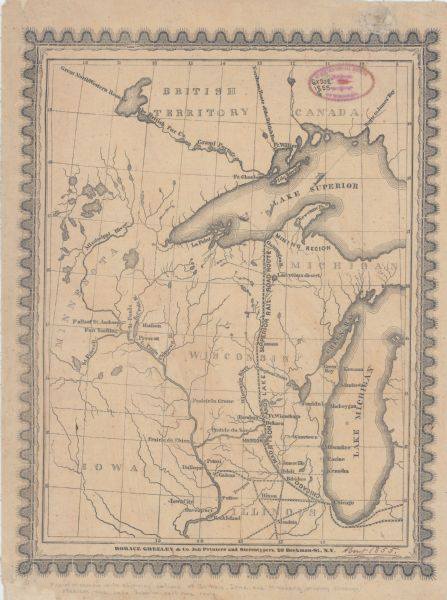 Map of Wisconsin with Portions of Adjoining States Showing the