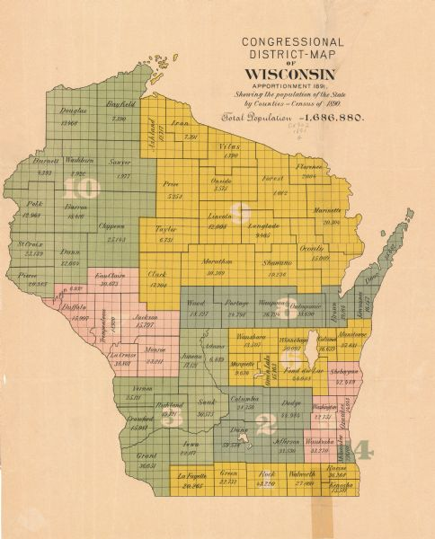 "This map shows the congressional districts lines in accordance with the 1890 census. Districts are labeled by number and color. Original caption reads, ""Showing the population of the state by counties--Census of 1890. Total population--1,686,880. Each count is labeled by name with total population listed below."