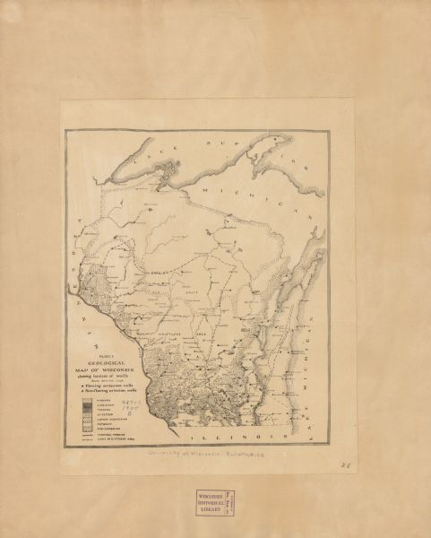 Geological Map of Wisconsin Showing Location of Wells Map or