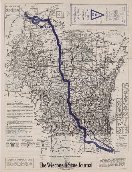 Official Highway Map of Wisconsin Showing Lucky 13 Wisconsin Map