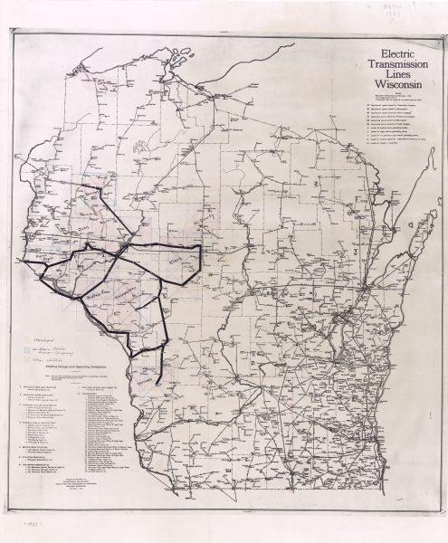 Electric Transmission Lines, Wisconsin | Map or Atlas | Wisconsin ...