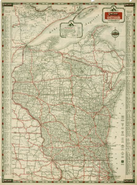 Sinclair 1933 Official Road Map Wisconsin Map or Atlas