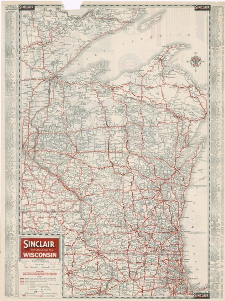 Sinclair 1931 Official Road Map, Wisconsin | Map or Atlas ...