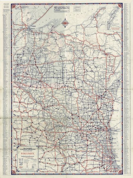 Where Is Wisconsin In Usa Map.Diamond Road Map Of Wisconsin And United States Map Or Atlas