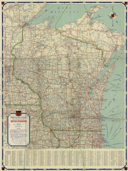 1934 Official Road Map, Wisconsin | Map or Atlas | Wisconsin ... on