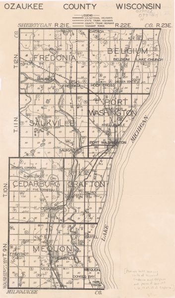 Map of Ozaukee County, Wisconsin | Map or Atlas | Wisconsin ... Map Of Ozaukee County on map of shorewood, map of greendale, map of wausau, map of menomonee falls, map of lake geneva, map of superior, map of pewaukee, map of elm grove, map of belgium, map of mukwonago, map of fox point, map of eau claire,