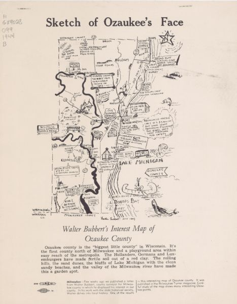 Sketch of Ozaukee's Face: Walter Bubbert's Interest Map of ... on map of shorewood, map of greendale, map of wausau, map of menomonee falls, map of lake geneva, map of superior, map of pewaukee, map of elm grove, map of belgium, map of mukwonago, map of fox point, map of eau claire,