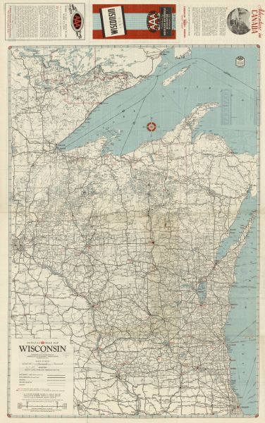 Road Map Of Canada With Cities.Official Aaa Road Map Wisconsin Map Or Atlas Wisconsin