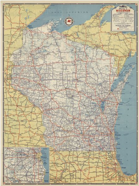Wisconsin And Upper Michigan Road Map Map Or Atlas Wisconsin