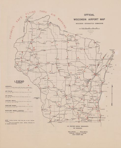 Official Wisconsin Airport Map Map Or Atlas Wisconsin - Michigan airports