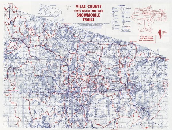 Vilas County Snowmobile Trail Map, This Map Covers Vilas County As Well As Parts Of Iron Oneida And Forest, Vilas County Snowmobile Trail Map