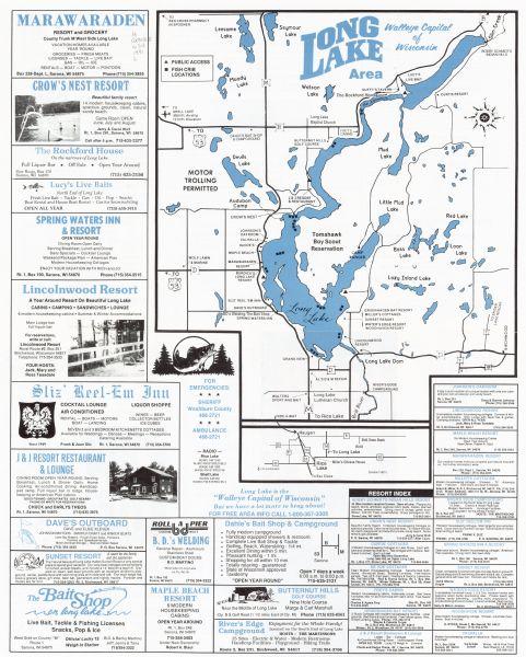 long lake wi map Long Lake Area Walleye Capital Of Wisconsin Map Or Atlas long lake wi map