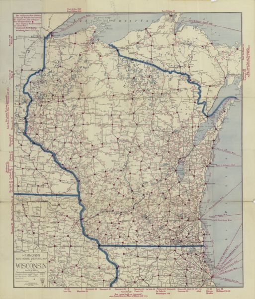 map of wisconsin and iowa Hammond S Auto Route Distance Map Of Wisconsin Map Or Atlas map of wisconsin and iowa