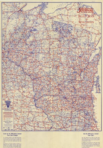 The Milwaukee Journal Tour Club Road Map of Wisconsin Map or