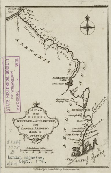 A View Of The Rivers Kenebec And Chaudiere With Colonel Arnolds - Marks lake maps