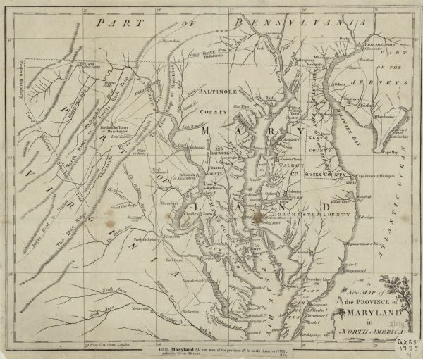A New Map of the Province of Maryland in North America Map or