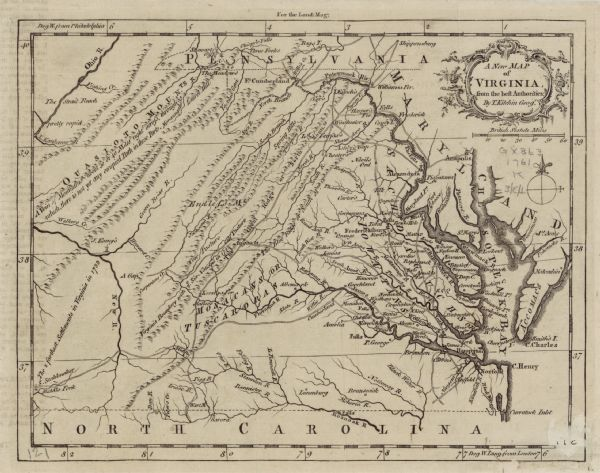 "Map of Virginia and parts of Maryland. It shows borders, boundary lines, Native American tribes and land, towns, forts, roads, mountains, waterfalls, bays, and rivers. Annotations appear throughout the map, such as one in the Appalachian Mountains reading ""cow pasture,"" and another below that reading ""Virginia Boundary with ye Six Nations in 1722."" Kitchin further emphasizes the farthest settlements in Virginia in an effort to establish English claims during the French and Indian War. Plants and waves frame the title cartouche. Faint offsetting of text is apparent along the left side of the map."