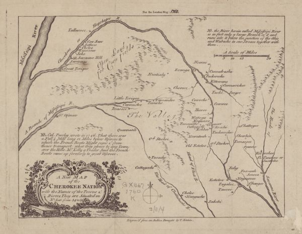 Map showing the towns, mountains, valleys, corn fields, and rivers of a portion of the Cherokee Nation. A few annotations on the map explain the land and rivers. Trees and a rolling hill decorates the title cartouche. Kitchin engraved his map from a Native American draft of the region. It is accompanied by two pages of text, which describe the expedition of Governor Lyttelton of South Carolina against the Cherokee Nation, and the resulting treaty which supposedly led to an alliance between the Cherokees and English against the French.