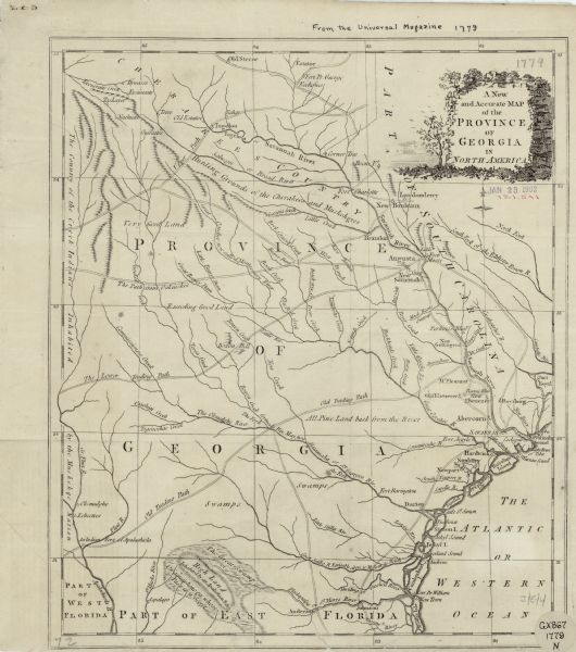 Colonial Map Of Georgia.A New And Accurate Map Of The Province Of Georgia In North America