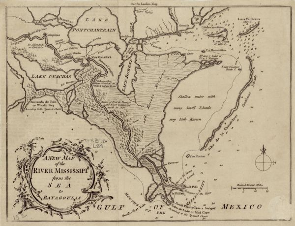 Southern Louisiana Map.A New Map Of The River Mississipi From The Sea To Bayagoulas Map