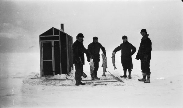 Four men, three holding large fish, pose near an ice fishing shanty off of Fish Creek.  Some of their gear is on the ice.