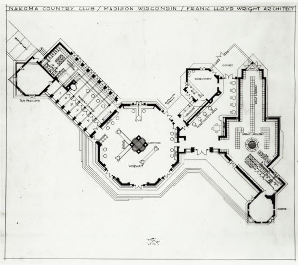 Unexecuted design by Frank Lloyd Wright of Nakoma Country Club, for which the architect received a fee of $5,000.