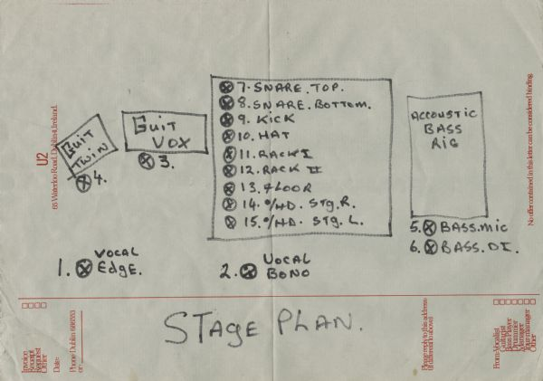 Stage Plot for the band U2. The famed Irish rock band that formed in 1976 performed on April 14, 1981 at Merlyn's, 311 State Street, Madison, Wisconsin. U2's sound technician drew out these stage plots on U2 stationery for Merlyn's staff.